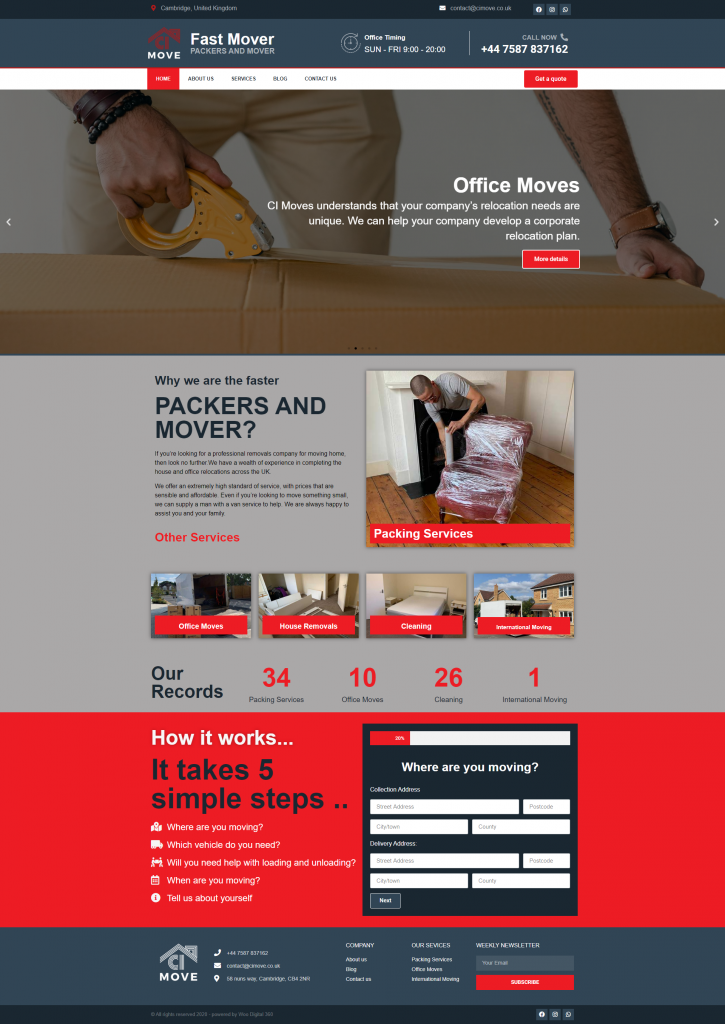 New website launch – CI Move, Fast Mover PACKERS AND MOVER